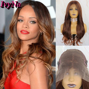 IvyNa Brown Mixed Blonde 13x6 Synthetic Lace Front Perücken für schwarze Frauen 30.04 Highlight Lace Front Perücken Futura Hitzebeständige Perücke