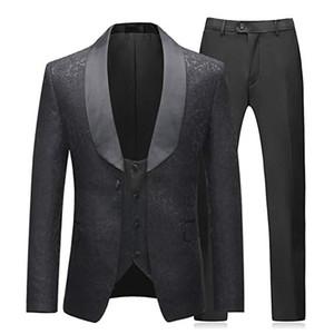 terno masculino Mens suit 3 Pieces Tuxedos Vintage Groomsmen Wedding Suit Prom Formal Tuxedo(Jackets+Vest+pants) costume homme