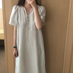 Chic Vintage Stylish Slim New Arrival 2020 Women Elegant Sweet V-Neck Retro Solid Short Sleeves Long Dresses AE709