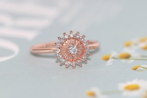 Anillos de boda Little Daisy para las mujeres delicado Crystal Sun Flor Anillo Micro Inlay Zircon 3 Color Party Regalo Joyería de moda