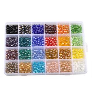 1200pcs / box handgemachte Kristall-lose Perlen 24 Farben flache Form 6 mm Größe Schmuck Komponenten Perlen für Armband DIY Teile