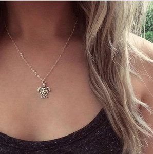 Lovely Womens Choker Necklaces Turtle Charm Link Chain Antique Silver Bohemian Style Lariat Necklaces