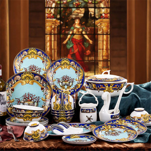 Louça de jantar conjuntos de cerâmica tigela placa de sopa tigela cozinha cozinhar ferramentas acessórios casa mesa de mesa home decor porcelana T200430