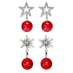 Nouvel An Femmes Rouge Pierre naturelle Cadeau de Noël Bijoux en argent plaqué ronde boule de cristal strass Boucles d'oreilles pour Noël HR