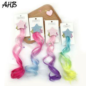 Clipes bonito Glitter Estrela peruca Cachos arco-íris Arcos cabelo rabo de cavalo cabelo para crianças meninas Princesa Braid peruca Headband Acessórios