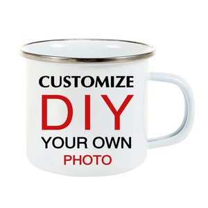DIY photo print Enamel MUG stainless steel Coffee Milk Tea Cup Travel mug Unique Gifts For Friend Family CX200706