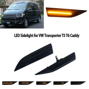 Hot 2 Pcs Pair Vehicle Car Dynamic LED Side Marker Turn Signal Light Indicator For Transporter T6 Caddy Car Styling Accessories