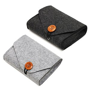 Portable Travel Felt Power Bank USB Data Cable Earphone Organizer Bag Fastener Storage Pouch Case for Cell Phone Accessory