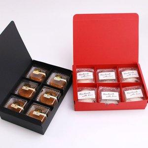 الجملة 20.5x14x5 سنتيمتر أحمر / أسود بسيط الوجه مربع ، كعكة القمر ، صفار البيض ، هش ، بسكويت السكر ، مربع التعبئة الحلوى (200piece \ الكثير)