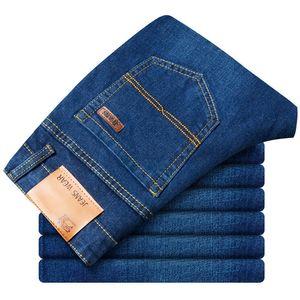Jeans Men 2019 Summer Strech Business Casual Straight Slim Fit Jeans Blue Black Denim Pants Trousers Classic Cowboys,G815