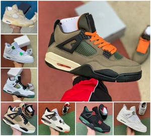 Nuovo Jumpman 4 Bianco Cement Mens Scarpe da basket 4S non imbattuto x Travis Scotts Scotts Rasta Rapace What The Sail Retroes Bred Designer Sneakers