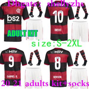 ADULTE KIT 2020 SHORT de soccer flamengo SOCKS 2021 chemisettes de Fútbol Gerson GUERRERO DIEGO 20 21 Gabriel B. hommes SET chemise de football