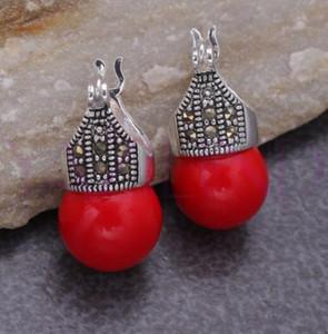 925 실버 도매 좋은 whosale 라운드 붉은 돌 구슬 빈티지 925 실버 후크 귀걸이 5.29 여성
