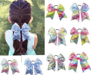"""DROP SHIPPING 8 """"Unicorn print Pailletten Cheer Bow Für Mädchen Kinder Boutique Band Haarschleifen mit Elastisches Haarband Kinder Haarschmuck"""