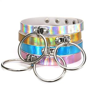 Rainbow Laser Metal Circle Rings PU Choker Necklace Collar Sub Slave Necklace for Women Statement Jewelry Drop Shipping