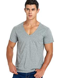 스트레치 딥 브이 넥 T 셔츠 남성용 로우 컷 V 넥 Vee 탑 티 슬림 피트 반소매 패션 남성 티셔츠 보이지 않는 언더 셔츠 C190420