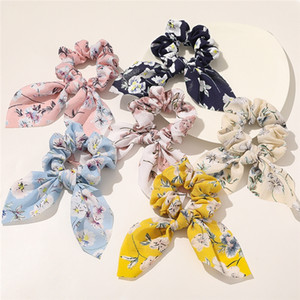 8 color Flower headband Bunny Ear Scrunchies Ponytail Holder hairbands Girl Elastic Knot Bow hair Bands hair accessories JJ452