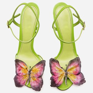 Women's Colorful Butterfly Fish Mouth Shoes Fairy Avocado Green Stilettos Sandals Cross-strap Sexy Party Shoe
