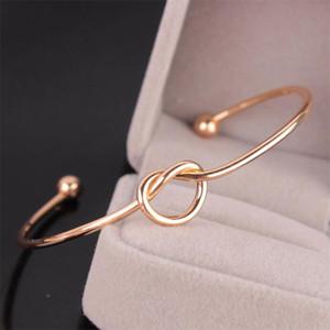 Venda quente tom de prata Ouro Cobre expansível Abrir fio Bangles Por amor nó Cuff pulseiras para a menina