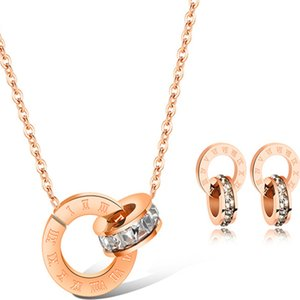 Kadınlar için lüks takı tasarımcısı takı setleri altın rengi çift yüzük küpe kolye titanyum çelik setleri sıcak fasion UHN43 gül