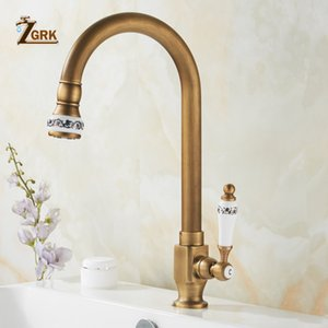ZGRK Cold Kitchen Sink Faucet Antique Bronze Finished 360 Degree Single Hole Water Tap Cooper Kitchen Tap T200423