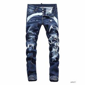 dsquared2 jeans ds2 QSQ Dsquared2 Мужская роскошь дизайнер джинсы черные рваные тощий байкер мото прохладный брюки вылейте Hommes тощий метанию хип-хоп джинсовой рок возрождение