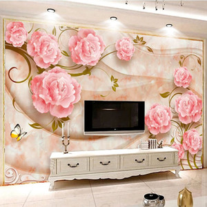 Custom Photo Wallpaper 3D Stereo Rose Flowers Marble Wall Paper European Style Living Room TV Sofa Backgorund Wall Decor Fresco