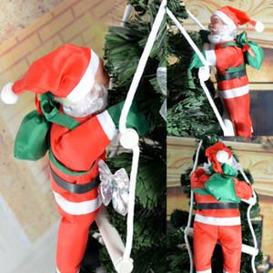صور عيد الميلاد سانتا كلوز تسلق على حبل سلم شجرة عيد الميلاد الشنق ديكور المنزل