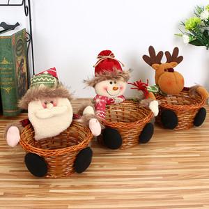 Weihnachtszuckeraufbewahrung Geschenkkorb Bambus-Weihnachtsgeschenk-Halter Korb Weihnachtsmann Lagerung Woven Korb Geschenk Weihnachtsdekoration