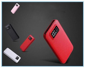 E Factory Price!Universality power bank with digital display 2 USB output ultra thin slim light free shipping Outlet Wholesale