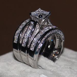 2018 Femmes 3-en-1 Bague De Mariage Fiançailles Set Princesse taillée 10ct Cz Diamant Bague 14KT Or Blanc Rempli Bague De Partie