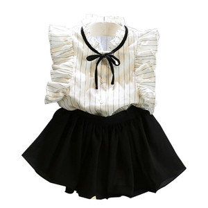 9 تستفسل الاطفال ملابس اينس اين فتيات الملابس مجموعات الأطفال الصيف القطن الشيفون تي شيرت + التنانير السراويل القصيرة إلكتروني الأزهار طباعة البدلة GGA2345