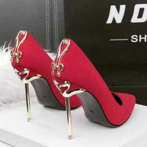 Дамы Высокие каблуки Женщины партии платье обувь насосы высокой пятки шпильках Sexy Свадебная обувь Женщина 2020 Остроконечные Toe Черный Красный Днища Luxury