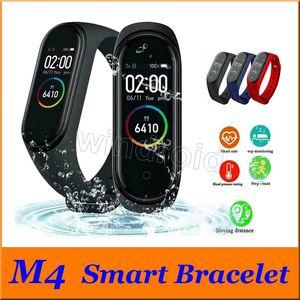 أرخص M4 للياقة البدنية الذكية سوار IP67 للماء رصد معدل ضربات القلب النوم الرصد ساعة ذكية الأساور الملونة انفصال