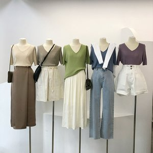 werynica 2020 Summer ice silk T Shirt Women Loose Style Solid soft Tee Shirt Female Short Sleeve Top Tees V-Neck T-shirt Women
