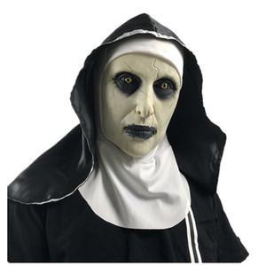 Die Nonne Latex Maske mit Kopftuch Kruzifix Terror Gesichtsmasken Scary Cosplay Thriller Antifaz Para Fiesta Horror Mascara Kreuz Halloween-Maske