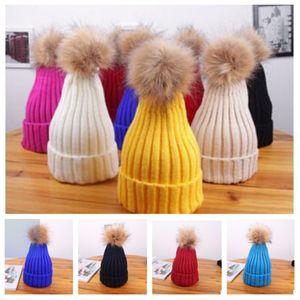 Qiu dong fonds han édition dame laine balle protéger les cheveux de chaud farceur oreille parent-enfant bonnet en tricot crâne Bonnet T2C5074