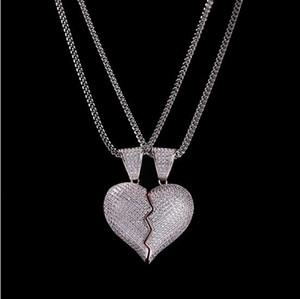 1 Paia Collana a pendente a mezzo cuore CZ Bling Pendente Micro Pave Cubic Zirconia Diamanti simulati Coppia regalo San Valentino