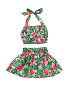6M-5T Summer Fashion Baby Girls 2Pcs Outfits Watermelon Print Strap Crops Top Vest Skirts Sunsuit Kid Girls Clothing