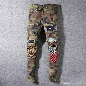 20SS men's tattered locomotive jeans slim locomotive jeans men's fashion designer hip hop men's jeans of high quality F12