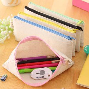 DIY Blank Canvas Bags 20.5*8.5cm Plain Zipper Pencil Pen Bags Stationery Cases Clutch Organizer Gift Storage Pouch Bags LX8769