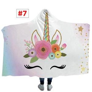 Arc-en-Unicorn Imprimer Blanket capuche pour enfants Cartoon enfants Blanket Automne Hiver couverture chaude 13Styles choisir 150 * 130cm