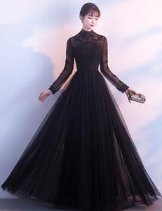 Özelleştirme Yüksek Kaliteli Dantel Parti Balo Abiye Siyah Uzun kollu Abiye El yapımı Çıkartması İnci Uzun Kış Topu Elbise