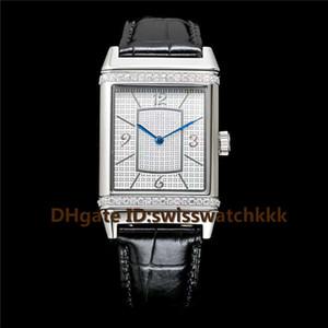 2019 верхней Q2788520 мужские часы швейцарский автоматический 21600 полуколебаний в час Сапфир Кристалл полный алмазов из нержавеющей стали 316L стальной корпус коричневым ремешком из телячьей кожи мужские часы