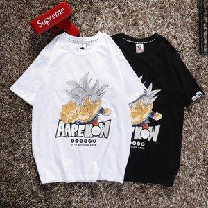 Hombre del diseñador de camisetas imitan X Dragon Ball Goku patrón de camuflaje tripulación alfabeto cuello corto par T F1056