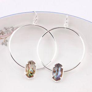 Abalone Shell Faux Círculo Oval Druzy Quartze Hoop Pendientes Joyería de Moda Lindo Multicolor Oval Hoop Pendientes Kendra estilo