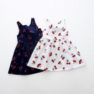 navidad linda muchacha de la impresión vestido sin mangas de algodón ropa de las muchachas del Bowknot de chicas vestidos de verano una línea vestido de la princesa del niño Vestidos