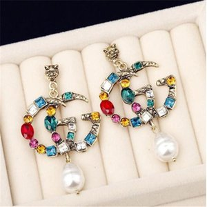 Famous Designer Earrings with Crystal Pearl Big Long Earrings Jewelry for Women Red Green White Yellow Colorful Stone Gift .b03