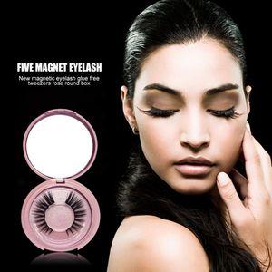 3D Extension Lashes 1pair Mink Hair Magnetic False Eyelashes with Tweezers Box Extended Beauty Makeup False Eyelashes