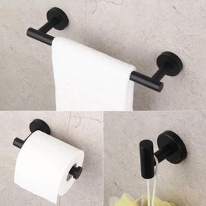 Mat 304 Paslanmaz Çelik Banyo Duş Set 3adet Banyo Donanım Aksesuarları Seti Siyah Havlu çubuğu kağıt tutucu bornoz kanca